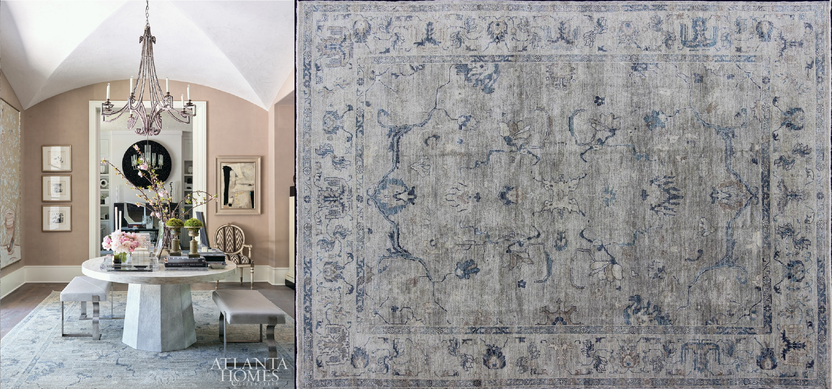 Beth Webb, Beth Webb Interiors, Atlanta Homes and Lifestyles Magazine, Southeastern Showhouse, Turkey, Turkish, Oushak, Rug, All-Over Design, Gray, Keivan Woven Arts, Sitting Room, Interior Design
