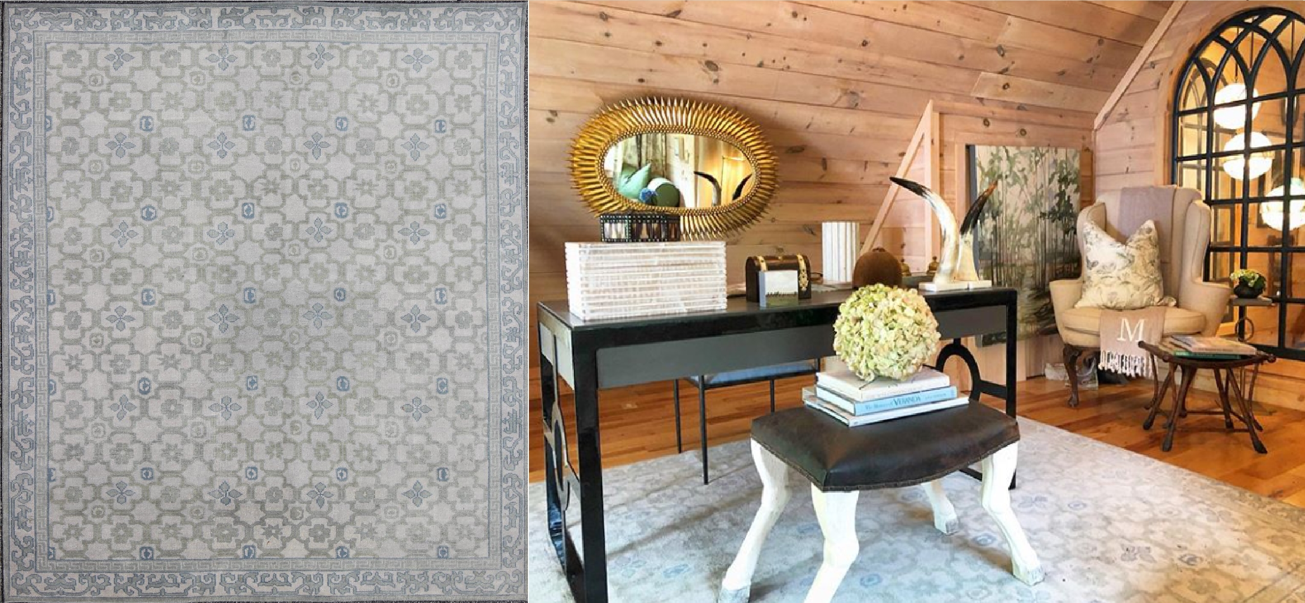 Cashiers Showhouse, Olive Interiors, Keivan Woven Arts, Khotan, Khotan rug, Ivory, Gray, All-Over Design, Geometric Shapes, Study, Interior Design